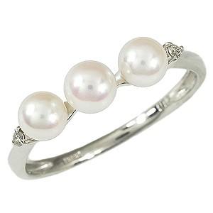 素晴らしい外見 リング 真珠指輪真珠 指輪 パール リング ベビー真珠指輪 ダイヤモンド K18WG あこや本真珠 ベビーパール 3コ付 送料無料 指輪 おしゃれ, 高級素材使用ブランド d6ee9135