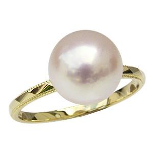 【特別セール品】 冠婚葬祭 レディース おしゃれ シンプル 真珠 K18 あこや本真珠 指輪 カットリング 指輪 パールリング ゴールド 9ミリ-指輪・リング