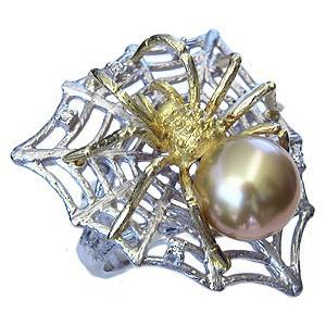 贅沢屋の 真珠 パール 南洋白蝶真珠 ゴールドパール くも K18 K18WG 指輪 リング 指輪 くも パール 蜘蛛 クモ 指輪 おしゃれ, 明石市:77ce605b --- kzdic.de