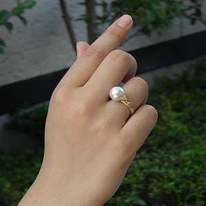 南洋白蝶真珠:K18:リング:10mm:ピンクホワイト系:ラウンド