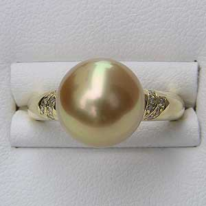 最安値で  指輪 パール K18 ダイヤモンド おしゃれ 南洋白蝶真珠 ゴールド系 リング ラウンド形 指輪-指輪・リング
