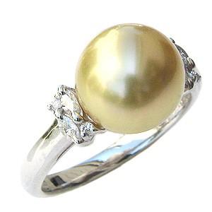 フジオカシ 真珠 パール リング 南洋白蝶真珠 指輪 10mm ゴールド系 Pt900 プラチナ ダイヤモンド 指輪 おしゃれ, 楽器de元気 5493912b