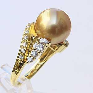 全国総量無料で 南洋白蝶真珠 リング ダイヤモンド パール ゴールド系 11.3mm K18 指輪 指輪 おしゃれ, チチブグン 02df9552