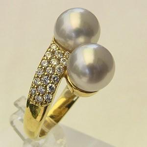 高い素材 指輪 ダイヤモンド パール 指輪 8mm ゴールド リング おしゃれ K18 南洋白蝶真珠 ホワイト系-指輪・リング