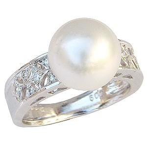 最愛 指輪 おしゃれ 合計0.09ct 指輪 ダイヤモンド PT900 プラチナ 直径10mm 12石 南洋白蝶真珠 ホワイトピンク系 真珠パール リング-指輪・リング