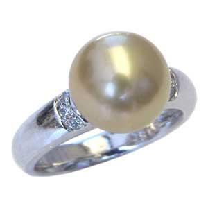 【通販 人気】 真珠の直径10mm リング リング 真珠パール ダイヤモンド おしゃれ 指輪 6石 南洋白蝶真珠 合計0.08ct プラチナ 指輪 PT900 ゴールド系-指輪・リング