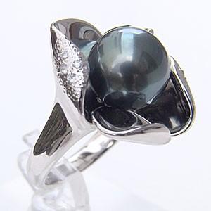 【お気に入り】 PT900 11mm タヒチ黒蝶真珠 リング パール グリーン系 プラチナ 指輪 おしゃれ 指輪 ダイヤモンド-指輪・リング
