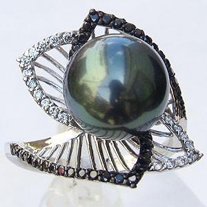 輝い 真珠 パール リング タヒチ黒蝶真珠 11mm ブラックダイヤモンド ホワイトゴールド K18WG, ウエスト ba61cb5b