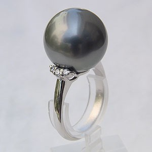 カウくる パール グレー系 指輪 PT900 リング タヒチ黒蝶真珠 ダイヤモンド 真珠 おしゃれ プラチナ リング 真珠 パール 指輪 リング-指輪・リング