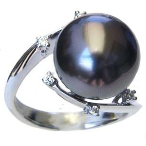 【公式ショップ】 真珠 パール リング タヒチ黒蝶真珠 12mm 真珠 パール 指輪 リング K18WG ホワイトゴールド 指輪 おしゃれ, ダテシ 4e07e6f4
