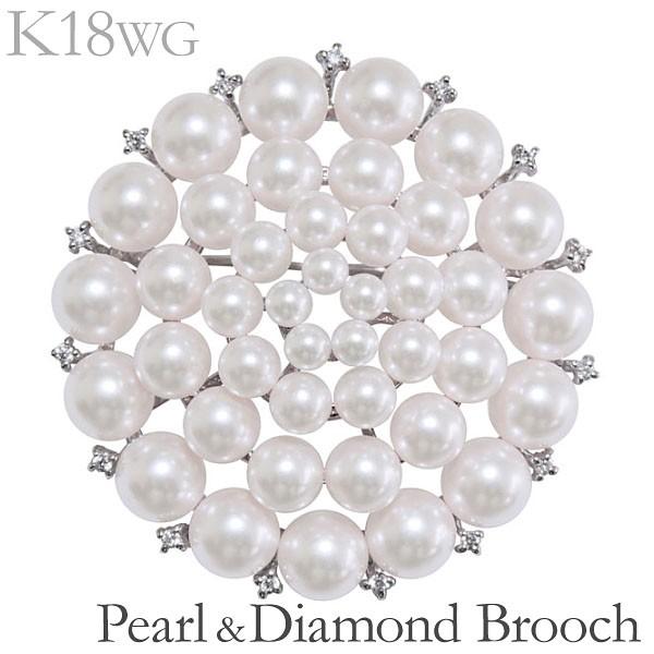 注目 ブローチ 41個の複数珠 マルチプル ペンダント兼用 あこや本真珠 0.15ct ダイヤモンド K18ホワイトゴールド レディース, シカマチ 039dad68