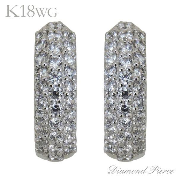 経典 ピアス パヴェ 中折れフープタイプ ダイヤモンド 62石 K18ホワイトゴールド レディース, ヘイワチョウ fcda9e0c