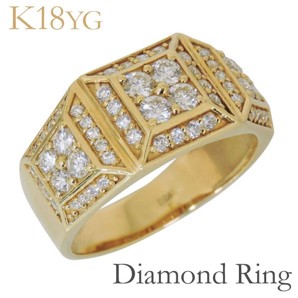 【70%OFF】 リング パヴェ62石 印台型 パヴェ62石 印台型 ダイヤモンド K18イエローゴールド リング レディース, デジ倉:3dd2cd0e --- chevron9.de