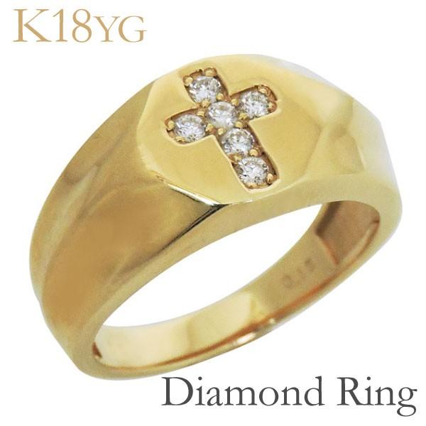 公式の  リング 印台型 クロスモチーフ ダイヤモンド K18イエローゴールド レディース, 雑貨通販 Happy Space 3577de12