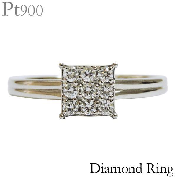 【超新作】 リング 指輪 スクエア型 0.20ct ダイヤモンド PT900プラチナ レディース 可愛い, musassabiz 77e26d2b