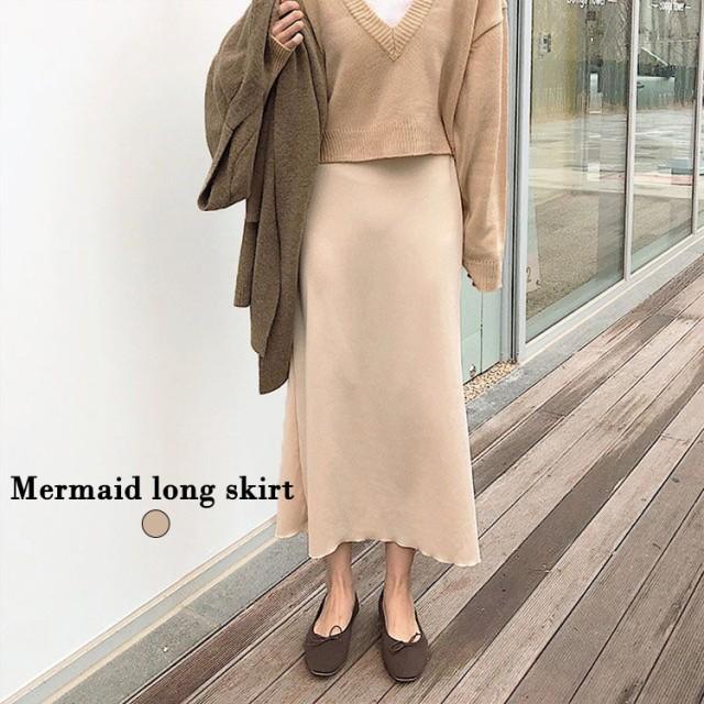 韓国 ファッション スカート マーメイド フレア ロング 無地 フリー FREE ベージュ レディース ウェア