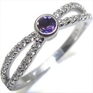 【限定特価】 18金・指輪・2月誕生石・一粒・アメジスト・リング-指輪・リング