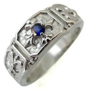 最高 サファイアリング・クロス・メンズ・リング・百合の紋章・10金・指輪, 旭区 e9836282