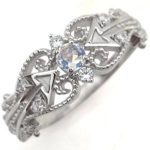【売り切り御免!】 プラチナ 指輪 ロイヤルブルームーンストーン キューピッド プラチナ 矢印 リング-指輪・リング