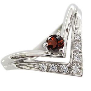 春のコレクション ガーネット プラチナ リング V字 リング 指輪 ガーネットリング, ナンカイドリンク a9295abb