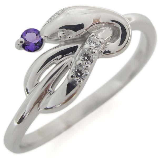 フジオカシ アメジスト ヘビ ファランジリング プラチナ 指輪 ピンキー-指輪・リング