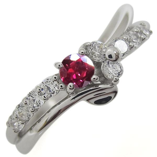 気質アップ 指輪 ルビー V字 結婚10周年 メモリアルリング プラチナリング-指輪・リング