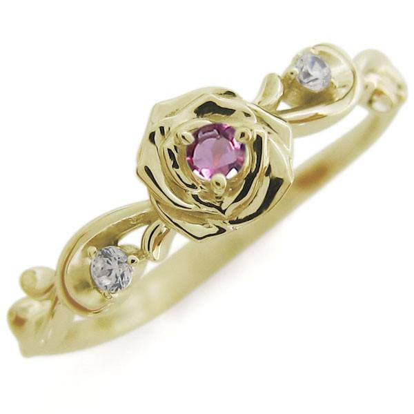 最新デザインの ピンクトルマリン ローズ バラリング K18 指輪 花, frist love 9fca964e
