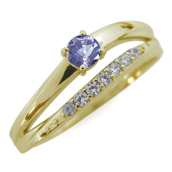 人気特価 指輪 シンプルリング 18金 2連リング 誕生石 タンザナイト-指輪・リング