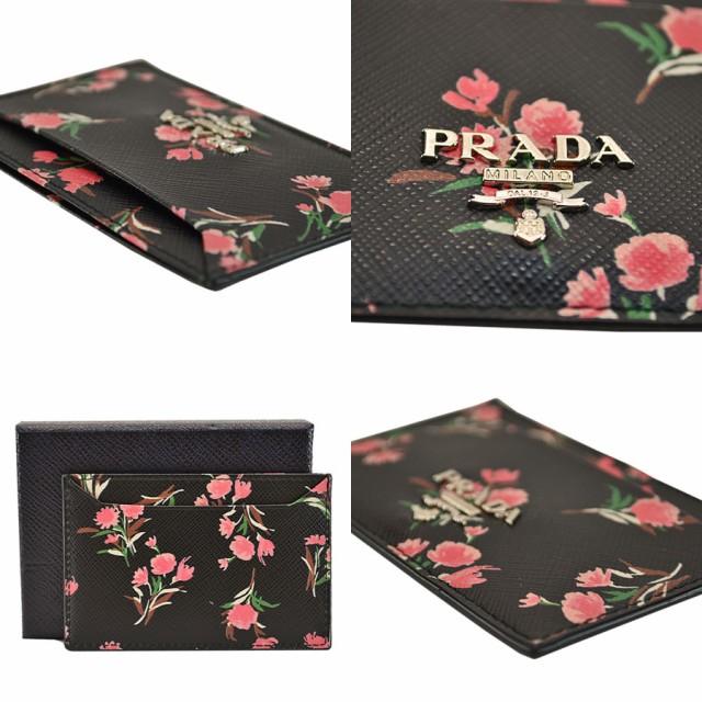 534ee36bde02 美品 プラダ PRADA カードケース フラワー ブーケ ブラックxマルチカラー サフィアーノレザー【中古
