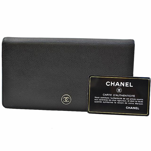 d0552a3045bf シャネル CHANEL 二つ折り 長財布 ココマーク ◇ブラックxシルバーカラー レザーx金属