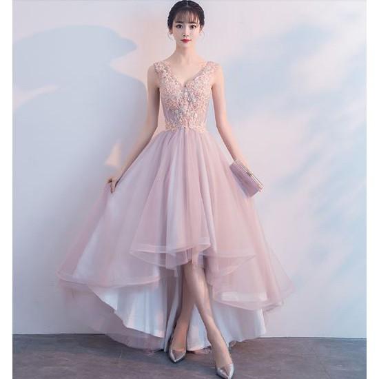 ロングドレス パーティードレス ロング丈 ノースリーブ レース 結婚式 二次会 お呼ばれ 大きいサイズ ピンク 韓国|au Wowma!(ワウマ)