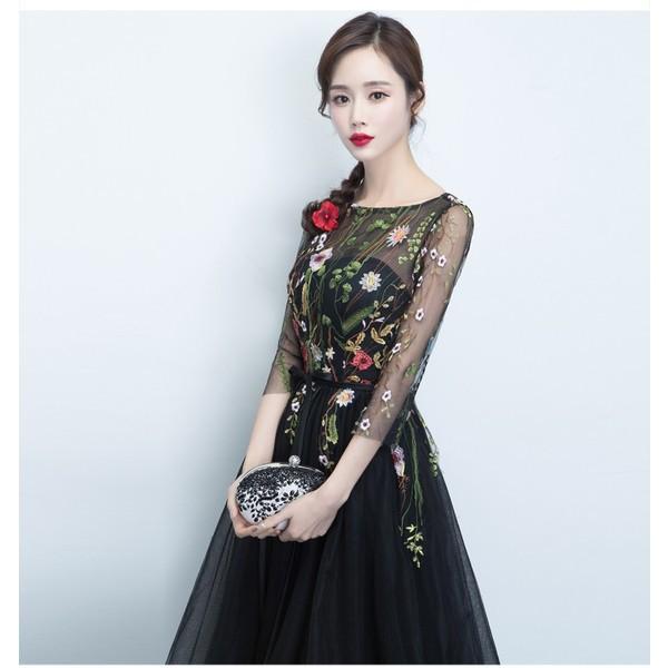 07e8f70f0aac12 ワンピース ドレス 結婚式 パーティー ミニ丈 七分 シースルー 花柄 オーガンジー ブラック 黒 シャンパン