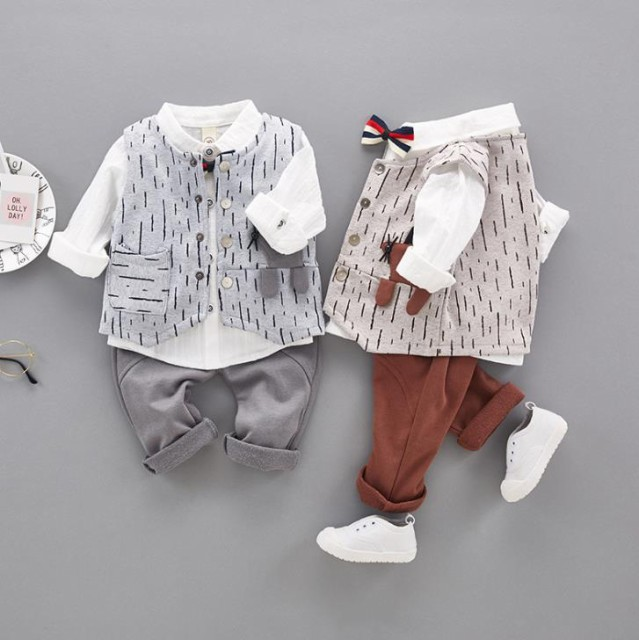 7f55dc03870f6 長袖 韓国風服 動物柄 春秋 フォーマル 男の子スーツ  シャツ ベスト パンツ 3点