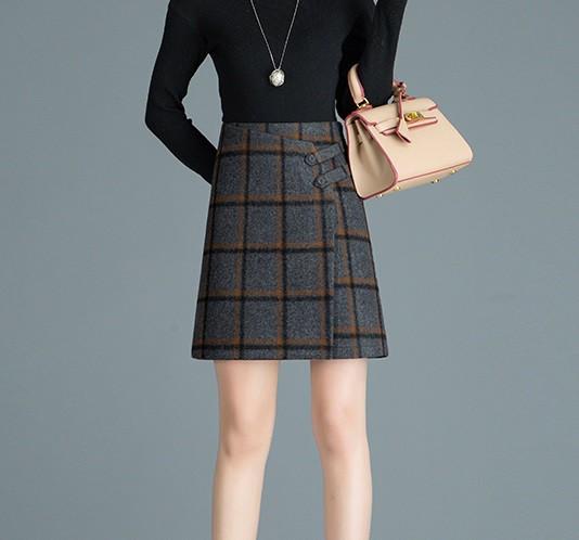 ラップスカート カジュアル レトロ ショート丈 ハイウエスト チェック柄 Aライン 大きいサイズ レディース スカート