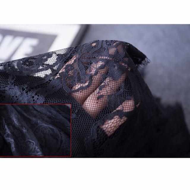 【メール便 送料無料】レース スカート ひざ丈 春 ウエストゴム フレアスカート ミディアム丈