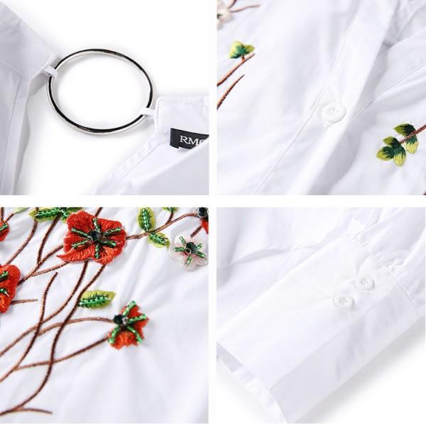 【お取寄せ】シャツ ブラウス ボタニカル 刺繍 花 フラワー ロングスリーブ 襟付き MKAT70440