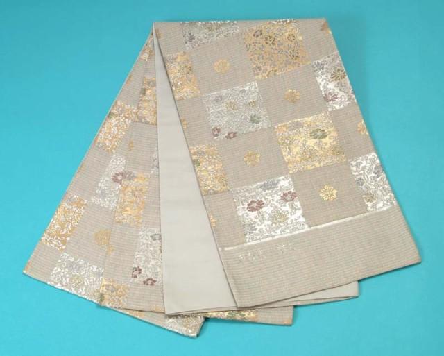 品質満点 【訳あり特価】<袋帯>西陣織(市松更紗詰文)-和装・和服