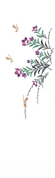 踊り衣裳【注染 長尺手拭 い印】紫・緑×白 桔梗 取り寄せ商品 「日本の踊り」掲載 和雑貨 和風小物 てぬぐい 祭