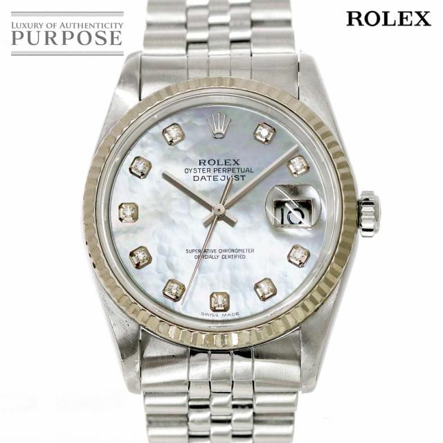 【メーカー包装済】 ロレックス デイトジャスト 16234NG F番 メンズ 腕時計 10Pダイヤ ホワイトシェル 文字盤 自動巻き 90094015 【】時計, ワインセラーパリ16区 f9c7608d