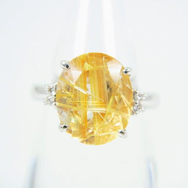 2019年最新海外 【】K18WG 天然ルチルクォーツ ダイヤモンド リング 11号 [g95-1], Web Shop ゆとり b7a44023