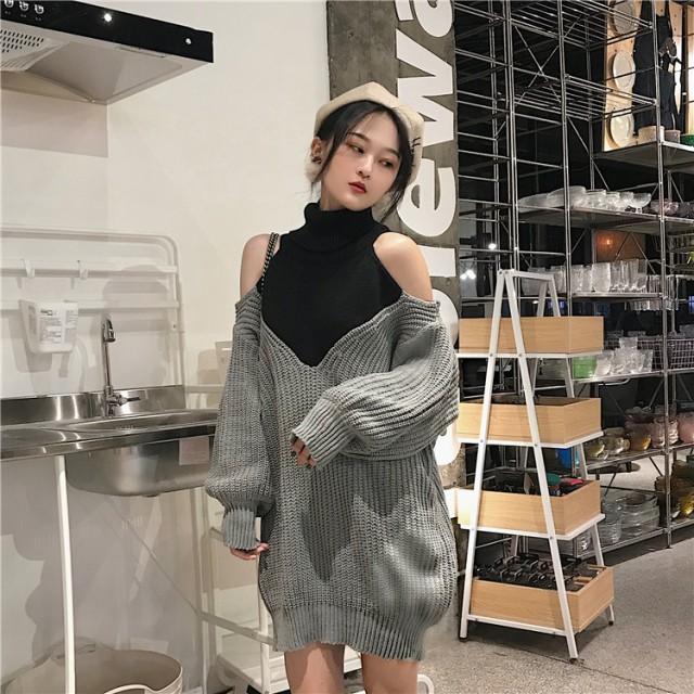 レディース ニット セーター トップス 肩出し セクシー ワンピ 韓国 ファッション インスタ映え 大人女子ファッション