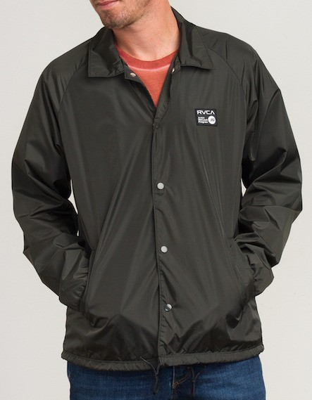 rvca anp coach jacket pirate black l コーチジャケット 送料無料の通販