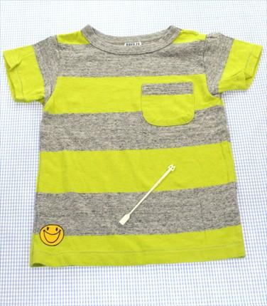 2ca03af99bed2 ブリーズ BREEZE Tシャツ 半袖 120cm グレー 黄色系 ボーダー キッズ 男の子 女の子 トップス 中古
