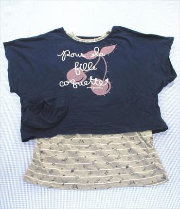 33d9700c37302 ポンポネット POM PONETTE Tシャツ タンクトップ 160cm グレー 紺系 ナルミヤ トップス ジュニア 女の子