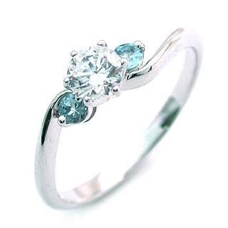 【返品?交換対象商品】 CanCam掲載3月誕生石 アクアマリン Pt ダイヤリング 婚約指輪・エンゲージリング, セイダンチョウ bc266a45