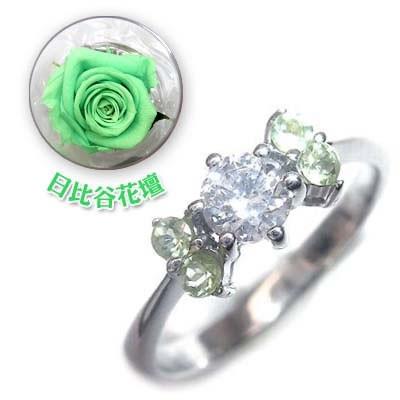 日本最大の 婚約指輪 ダイヤモンド プラチナエンゲージリング8月誕生石 ペリドット 日比谷花壇誕生色バラ付, PLAYFUL c60b2f90