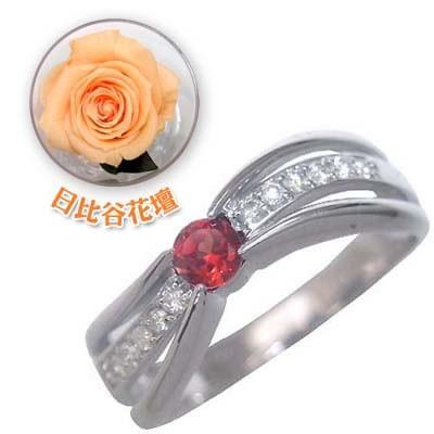 高い品質 婚約指輪・エンゲージリング 日比谷花壇誕生色バラ付 K18ホワイトゴールドガーネット・ダイヤモンドリング 1月誕生石-指輪・リング