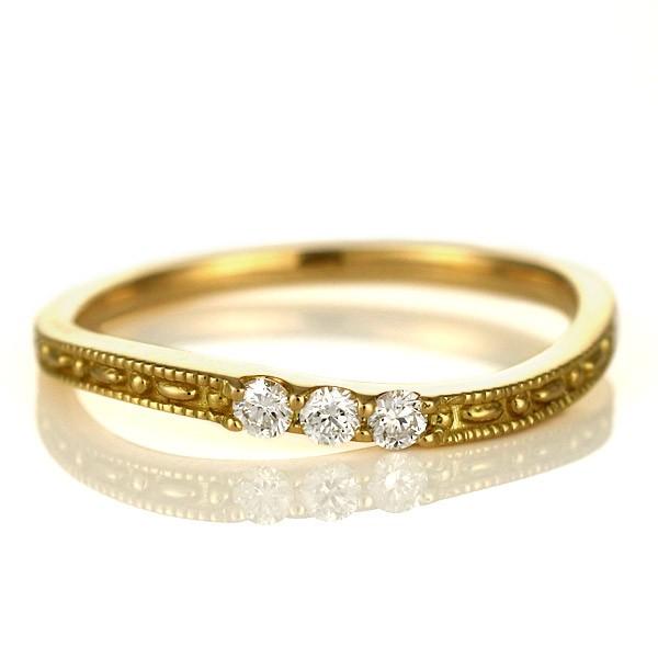 【正規販売店】 ピンキーリング 指輪 ダイヤモンド 18金 金 K18 18k イエローゴールド スリーストーン 人気 おすすめ レディース 女性, 松本民芸家具 ギャラリー織絵 d1eef281
