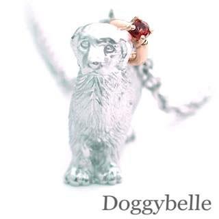 独創的 K10ガーネットネックレス ゴールデンレトリバー プラチナ 1月誕生石 犬-その他アクセサリー・ジュエリー