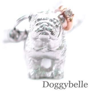 【在庫限り】 犬 ブルドッグ プラチナ K10ダイヤモンド入り携帯ストラップ 4月誕生石-その他アクセサリー・ジュエリー